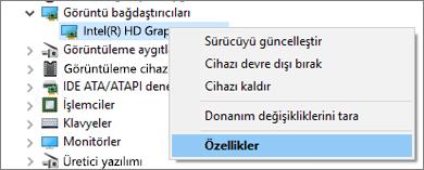 Görüntü bağdaştırıcısı sürücülerinizi yönetmek için Windows Cihaz Yöneticisi'ne gidin.