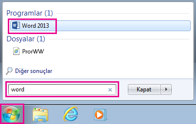 Windows 7'de Office uygulamalarını arma