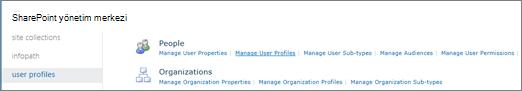 Kullanıcı profillerini yönet bağlantısı kullanıcı profilleri sayfası