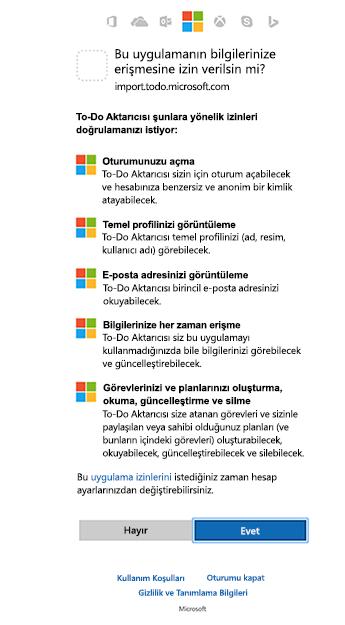 Ekran gösteren alıcısı izinleri