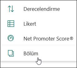 Microsoft Forms 'ta yeni bölüm seçeneği
