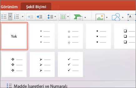 Madde İşaretleri düğmesindeki oku seçtiğinizde gösterilen madde işareti stillerinin ekran görüntüsü