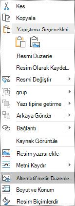 Windows için Outlook 'ta resimler için alternatif metin bağlam menüsü