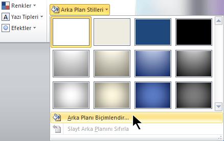 Tasarım sekmesinin sağ ucunda Arka Plan Stilleri'ni seçin ve ardından Arka Planı Biçimlendir'i seçin