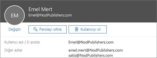 Bu kullanıcının bir birincil adresi ve iki diğer adı var.