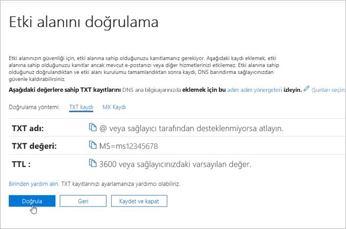Freenom Office 365_C3_2017617122635'te etki alanınızı doğrulayın