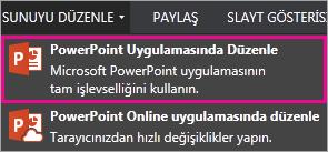 powerpoint'te düzenle komutu