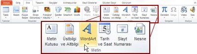 PowerPoint 2010, WordArt düğmesi vurgulanmış olarak Ekle sekmesi.