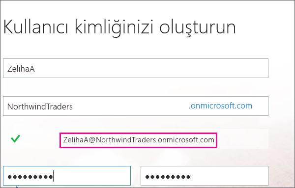 Kullanıcı kimliğinizi oluşturun sayfasını gösterir. Microsoft kullanıcı kimliğinizi, girdiğiniz ad ve şirket ayrıntılarını kullanarak oluşturur.