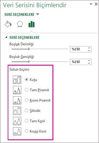 Veri Serisini Biçimlendir görev bölmesinde 3B piramit ve koni şekilleri