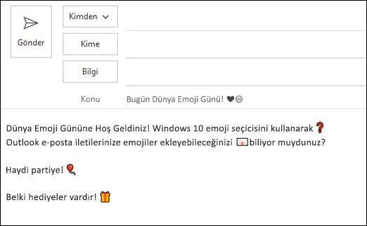 E-posta iletinize bir veya daha fazla emoji ekleyebilirsiniz.