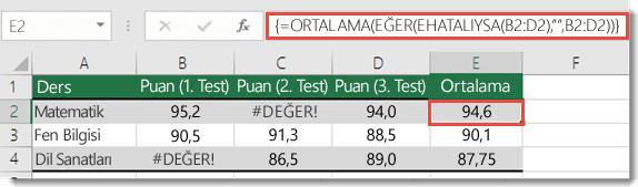#DEĞER! hatasını düzeltmek için ORTALAMA'da dizi işlevi