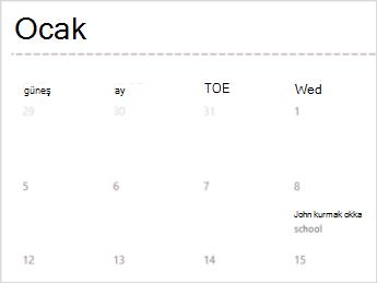 Excel Online'da takvim şablonu