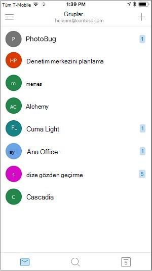 Grupları mobil uygulamasının giriş ekranı
