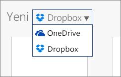 Office Online'da yeni dosya oluşturabileceğiniz konumlara eklenen Dropbox'ın görüntüsü.