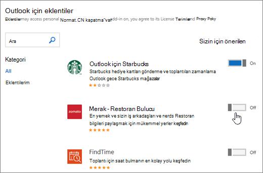 Eklentilerin görebileceğiniz Outlook sayfasının görüntüsü yüklü eklentileri arayın ve daha fazla eklenti seçin.