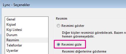'Resmim seçenekleri' iletişim kutusunun 'Resmimi gizle' seçeneğini işaretli olarak gösteren bölümünün ekran görüntüsü