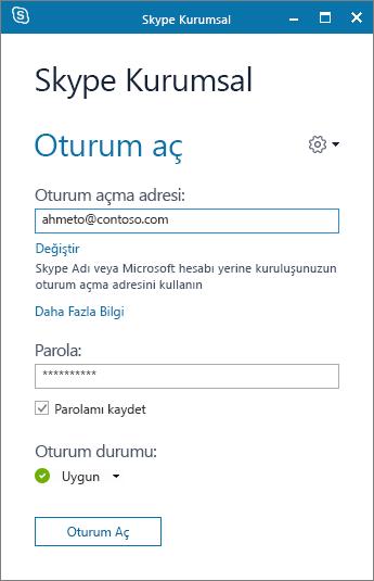 Skype Kurumsal oturum açma ekranının ekran görüntüsü.