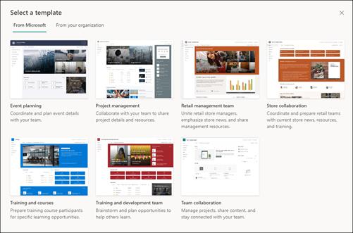 Ekip siteleri için şablon seçici görüntüsü