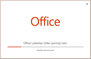 Office uygulamasının yükleme işleminin ilerleyişi