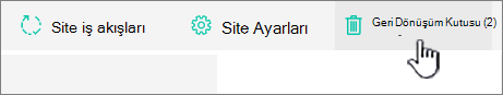 SharePoint Online Site içeriği sayfasına geri dönüşüm düğmesi