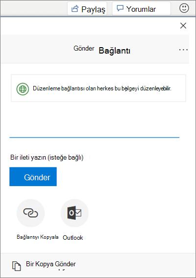 Word'deki dosya paylaşımı bölümünü gösteren ekran görüntüsü