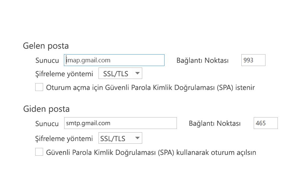 SPA'nın işaretlenmemiş olduğu IMAP ayarları