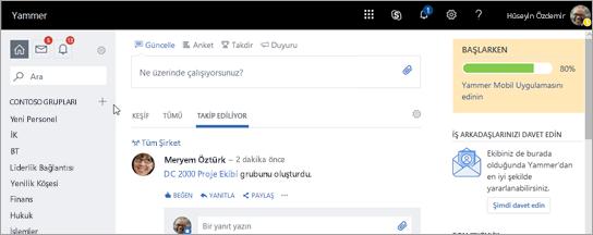 yammer.com giriş sayfasının ekran görüntüsü
