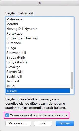 Word'ün seçtiğiniz metni denetlemesini engellemek için Yazım veya dilbilgisi denetimi yapma'yı seçin.