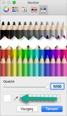 Renkler iletişim kutusunda bir Damlalık aracı bulunur.