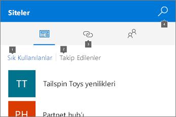 Siteler sekmesini gösteren ekran görüntüsü