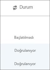 Veri geçişi sayfasında her kullanıcının geçiş durumu görüntülenir