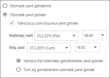 Web üzerinde Outlook otomatik yanıtları Ayarlama saati
