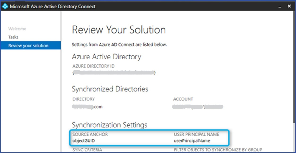 Azure AD Connect -Review your solution