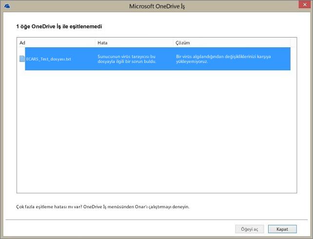 Sunucunun virüs tarayıcısı dosyayla ilgili bir sorunla karşılaştığı için 1 öğenin OneDrive İş ile eşitlenemediğini gösteren iletişim kutusunun ekran görüntüsü.