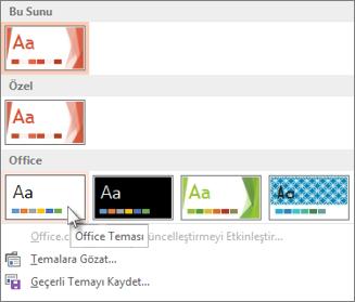 Office Teması'nı seçme