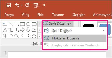 PowerPoint'te Çizim Araçları sekmesinde yer alan Şekli düzenle menüsündeki Noktaları Düzenle seçeneğini gösterir.