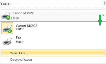 Kullanılabilen yazıcılar açılan listesi