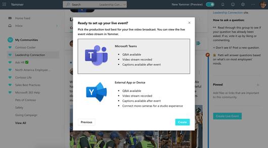 Yammer canlı etkinliği için kurulum seçeneklerini gösteren ekran görüntüsü