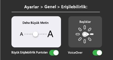 Genel erişilebilirlik: daha büyük metin ve VoiceOver ayarları