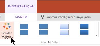SmartArt Araçları 'nın altında renk galerisini açmak için renkleri değiştir 'i seçin