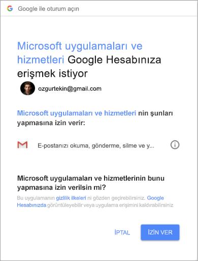 Gmail hesabınıza erişmek için Outlook'ta izinler penceresini göstermek