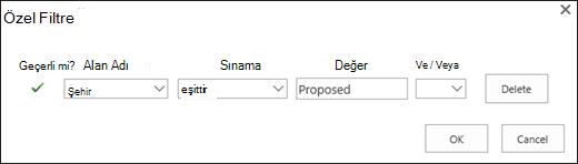 Önerilen kaynak istekleri için filtreyi yapılandırma