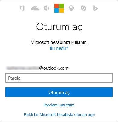 Microsoft hesabı oturum açma ekranını gösteren ekran görüntüsü