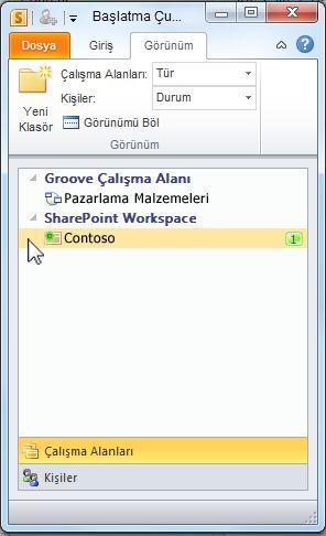 Başlatma Çubuğu'ndaki SharePoint çalışma alanı