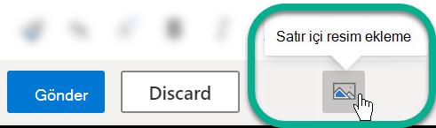 İleti gövdesinin altında, çevrimiçi resim ekle düğmesini seçin.