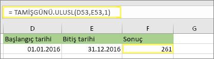 =TAMİŞGÜNÜ.ULUSL(D53,E53,1) ve sonucu: 261