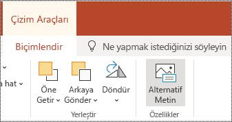 PowerPoint online 'da bir şekil ve videonun şerit 'inde alternatif metin düğmesi.