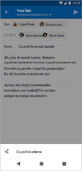 Android için Outlook 'ta duyarlılık Ekle düğmesinin ekran görüntüsü