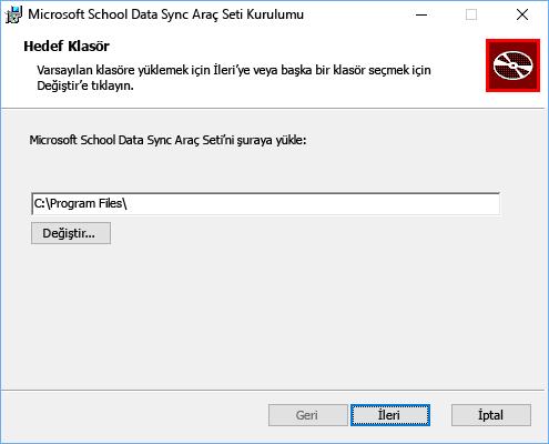 Microsoft School Data Sync Araç Seti için yükleme yolunu seçin